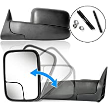 ECCPP Towing Mirror Replacement fit Dodge 94-01 Ram 1500, 94-02 Ram 2500 3500 Pickup Truck Manual Towing Tow Mirror Left Driver and Right Passenger Pair Set Fits 60177-78C Side Mirror
