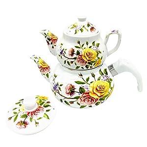 Double Tea Pot Kettle Samovar Style Enamel and Porcelain (Rose Branch)