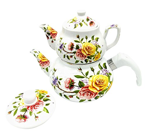 Double Tea Pot Kettle Samovar Style Enamel and Porcelain