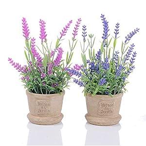 Artiflr Lavender Artificial Flower Pot - 2 Pack Fake Potted Plants Decorative Fake Lavender Flowers House Decorations (Pink Purple) 4