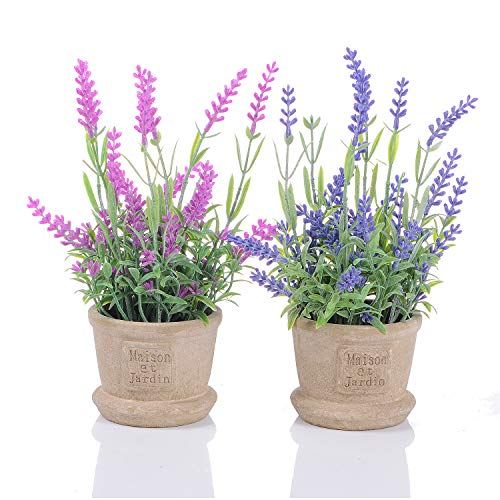 Artiflr Lavender Artificial Flower Pot - 2 Pack Fake Potted Plants with Decorative Fake Lavender Flowers for House Decorations (Pink and Purple)