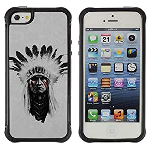 BullDog Case@ Indian Man Native American Face Painting Rugged Hybrid Armor Slim Protection Case Cover Shell For iphone 5S CASE Cover ,iphone 5 5S case,iphone5S plus cover ,Cases for iphone 5 5S