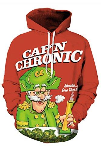 Timemory Unisex Cap'n Thronic Printed Pockets Hoodie Sweatshirt XL Print #18 (Santa Hoodie)