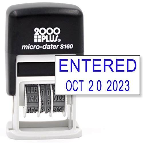 Round Message Stamp (Cosco 2000 Plus Self-Inking Rubber Date Office Stamp with Entered Phrase & Date - Blue Ink (Micro-Dater 160), 12-Year Band)