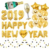 16inch 2019 Happy New Year with Golden Latex Balloon Confetti Balloon Star Heart Balloon Champagne Bottle Balloon and Paper Skewers for The New Year Party