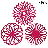 Killypo 3 Sets of Cushions Silicone Insulation Pot Plate Bowl Mat Geometry Flower Multi-use Table Mat Western Multi-purpose Carved Three-pad Insulation Thick and Durable Non-slip