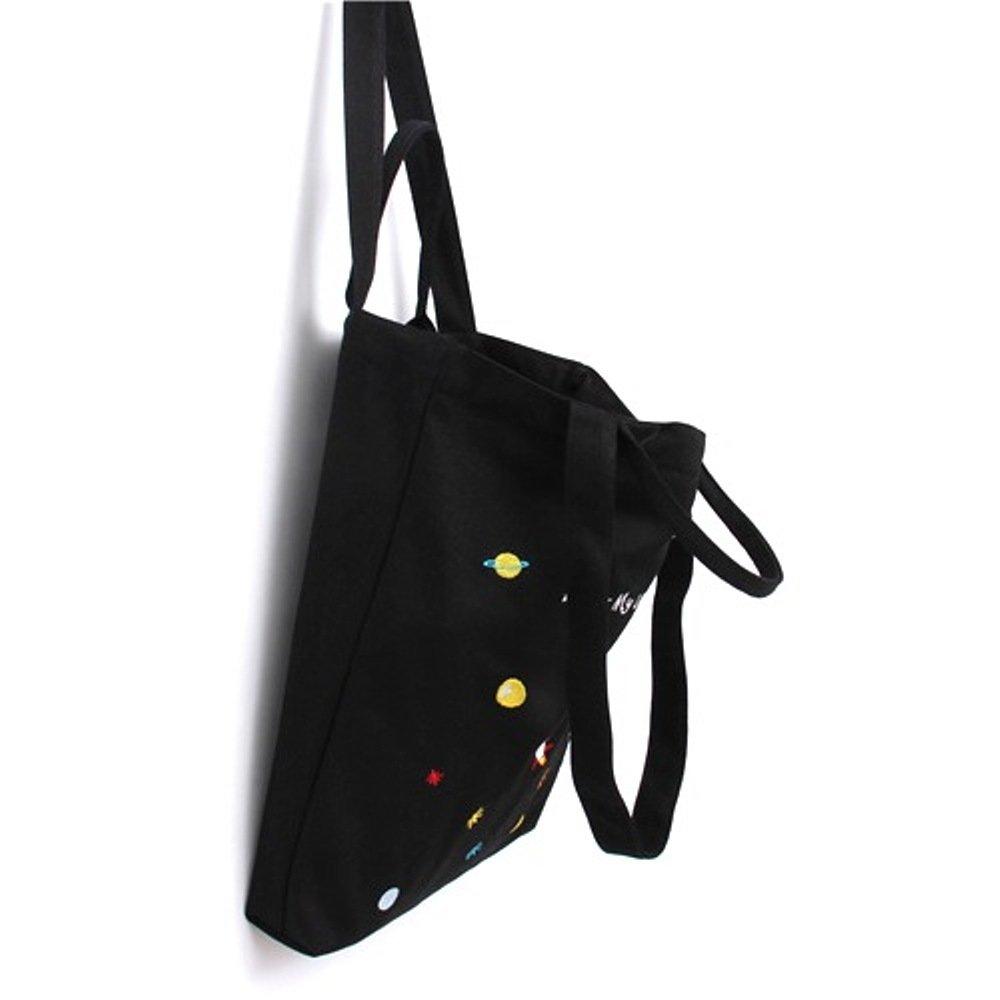 Nuni Star Rocket Embroidered Canvas Tote Convertible Shoulder Bag Large Size (2 handles + 2 shoulder straps, black)