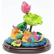 Feng Shui Mandarin Duck in Lotus Pond Statues Figurine Wealth Lucky Figurine Home Decor Gift US Seller (Mandarin Ducks LY054)
