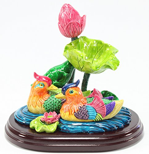 Feng Shui Mandarin Duck in Lotus Pond Statues Figurine Wealth Lucky Figurine Home Decor Gift US Seller (Mandarin Ducks LY054)