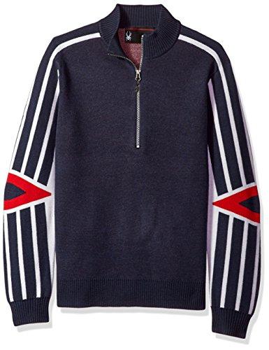 Spyder Men's Rad Pad Half Zip Sweater, Frontier/White/Red, X-Large