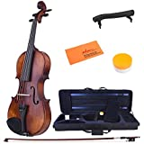 ADM 1/2 Half Size Intermediate Solid Wood Acoustic Violin Outfit, Beginner Kit with Violin Hard Case, Professional Violin for Advanced Student, Brown