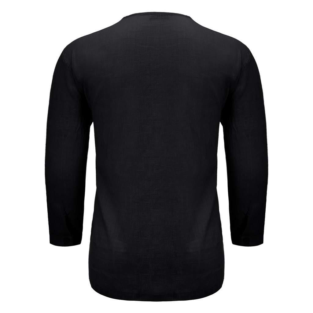 Camisas Hombre Lino Verano y Oto/ño Camisetas Manga Larga Color S/ólido Escote V Tops Shirt Tallas Grandes Polos Modernas Sudadera Deporte Talla Grande M-4XL