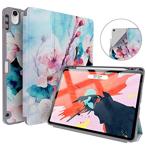 Soke iPad Pro 11 Inch 2018 Case with Pencil Holder, Premium Trifold Case [Strong Protection + Apple Pencil Charging Supported], Auto Sleep/Wake, Soft TPU Back Cover for New iPad Pro 11(Peach Blossom)