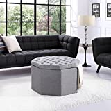 Inspired Home Silvia Grey Linen Storage Ottoman – Cocktail Coffee Table | Upholstered Tufted | Modern Octagon