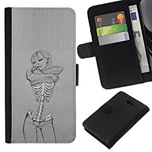 Leather Etui en cuir    Sony Xperia M2    Cráneo Sexy Girl Gris Mujer Esqueleto @XPTECH