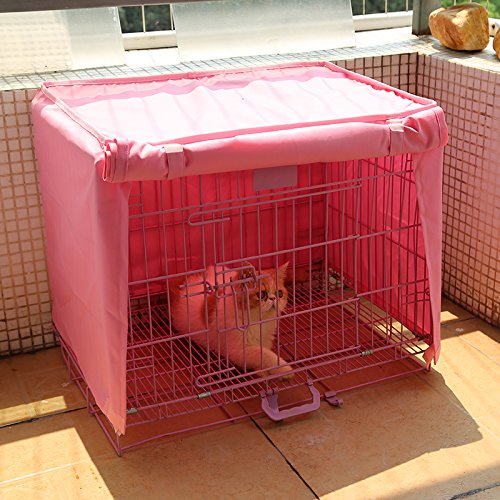 Doglemi Waterproof Pet Crate Cover for Wire Crate Dog Kennel Cage Cover 4sizes (Pink, M)