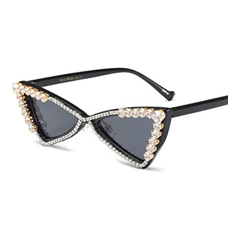 bbbdab6b0310 Z&HA Cat Eye Sunglasses Crystal Embellished Glasses Triangular Resin Frame  Black Tone Eyewear,Brightblack