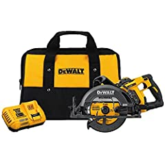 """The DEWALT DCS577X1 FLEXVOLT 60V MAX* 7-1/4"""" Worm Style Saw Kit with 9.0Ah Battery features optimized line of sight with a left side blade and the handle positioned at the rear of the saw for easy line of sight, with an integral dust blower t..."""