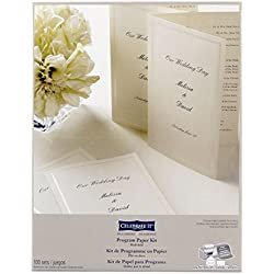 Wedding Occasions Half-Fold Program Paper Kit, Ivory by Celebrate It