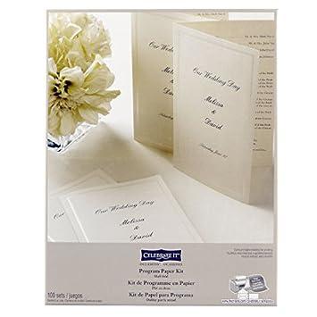 Wedding Occasions Half Fold Program Paper Kit Ivory By Celebrate It