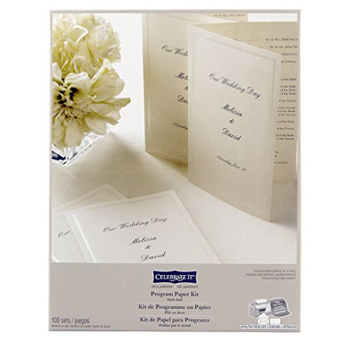 Wedding Occasions Half-Fold Program Paper Kit, Ivory by Celebrate ()