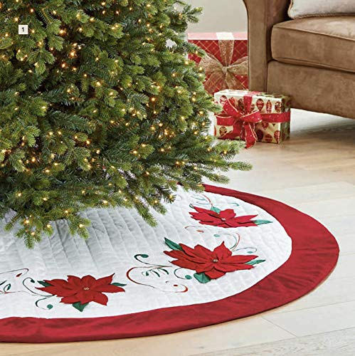 "CWC 66"" Adjustable Tree Skirt (White + Red),"
