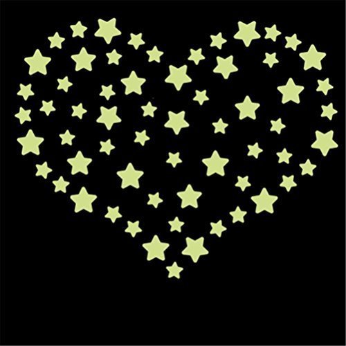 Amaonm® 38 Pcs Removable Diy Glow in the Dark Luminous Florescent Light Stars Wall Decals Stickers Murals Peel & Stick Home Art Decor for Kids Babys Bedroom Living Room Study (Diy Glow Stick)