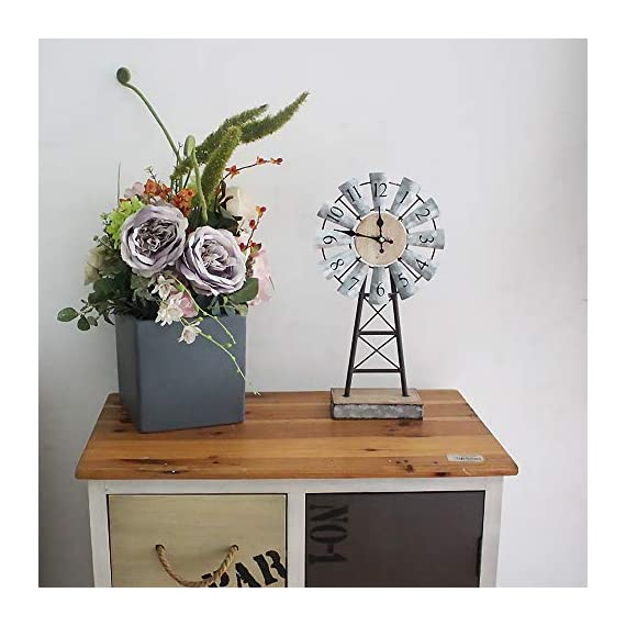MODE HOME Galvanized Windmill Table Clock on Stand Vintage Desk Clock Decorative Farmhouse Kitchen Clock Mantle Clock - Factory direct,Vintage galvanized windmill tabletop clock on stand Clock measures 8.3L x 3.15W x 15.75H in Requires one AA battery; battery not included - clocks, bedroom-decor, bedroom - 51PENRgeMJL. SS570  -