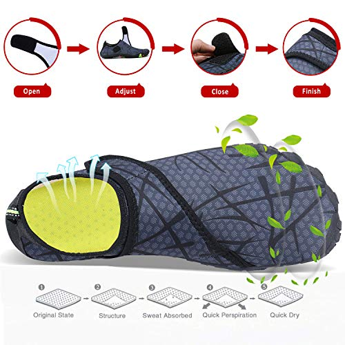 Mens Womens Water Sports Shoes Quick-Dry Lightweight Barefoot Wide Feet Toe Solid Drainage Sole for Swim Diving Surf Aqua Pool Beach Jogging Trip by PENGCHENG (Image #4)