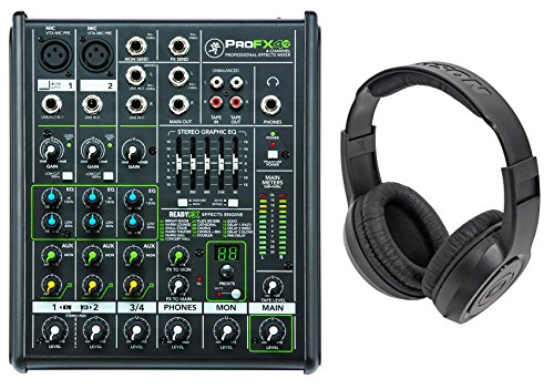 New Mackie PROFX4v2 Pro 4-Ch Compact Mixer w Effects PROFX4 V2+Samson Headphones by Mackie