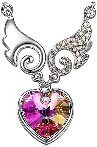 Kate Lynn Christmas Necklaces Gifts for Women Heart Purple Crystals from Swarovski Fairy Swing Pendant Necklace Chain Length 17.5