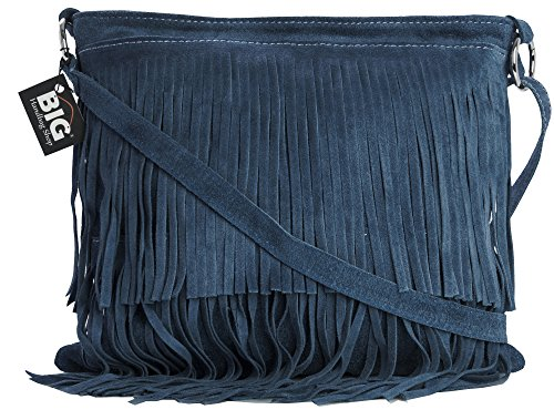 Leather Shoulder Bag Large Size Blue Fringe Denim ASHLEY Womens Suede LIATALIA Tassle qTYEAXw