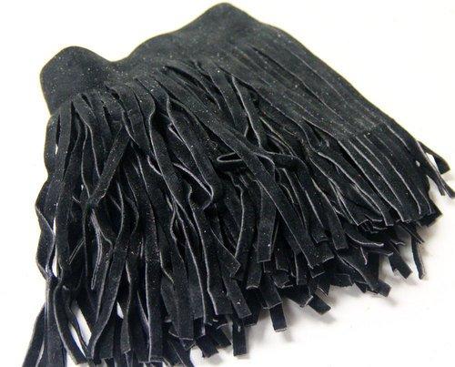 Leather Black Fringe - Fringe - Genuine Suede Leather Trim 4