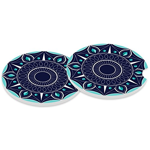 (Absorbent Stoneware Car Coaster,Ceramic Auto Cupholder Coasters,Set of 2 Stone Coasters for Drinks Absorbent 2.56 inch)