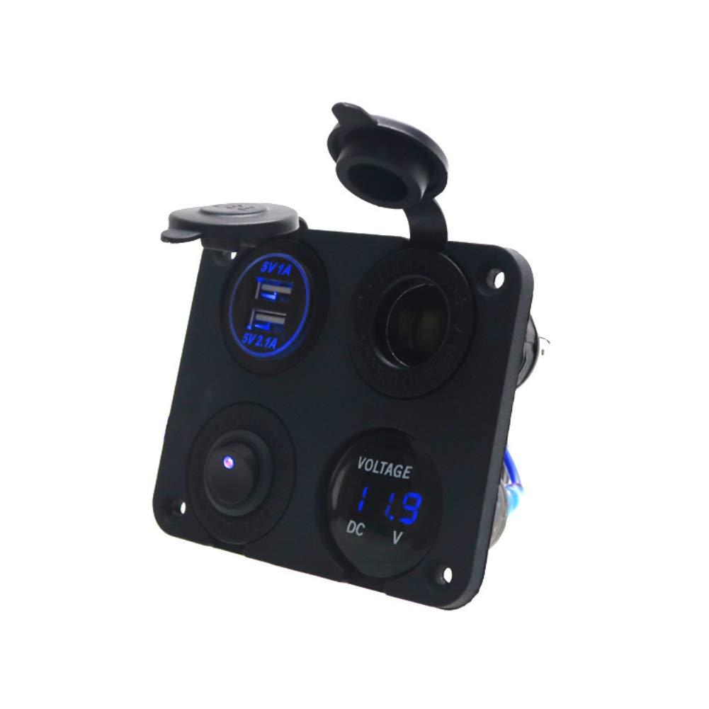 Enchufe para mechero de Coche Homeofying 3,1 A, Cargador Dual USB, volt/ímetro Digital con Interruptor