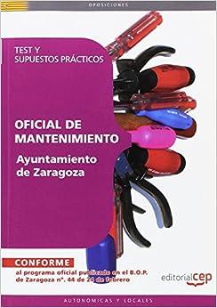 Como Descargar Libros Para Ebook Oficial De Mantenimiento Ayuntamiento De Zaragoza. Test Y Supuestos Prácticos En PDF Gratis Sin Registrarse