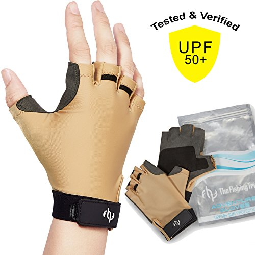 - UV Fishing Gloves Sun Protection for Men & Women, Certified UPF50+, Half Finger Glove Kayaking, Paddling, Sailing, Driving, Golfing, Fingerless Free of Chemicals, Machine Washable, Sand S