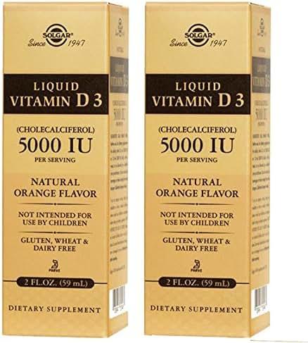Solgar - Liquid Vitamin D3 (Cholecalciferol) 5000 IU – Natural Orange Flavor (2 Pack)