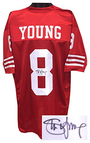 (Steve Young Signed Autograph TB Red Custom Stitched Pro Style Football Jersey- JSA Authentic)