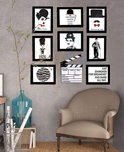 Art street - Charlie Chaplin gallery wall set of 8 individual Black wall photo frame with prints + white movie action board by Street Art