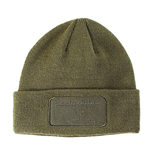 Only Child Big Brother Embroidery Design Double Layer Acrylic Patch Beanie Olive Green