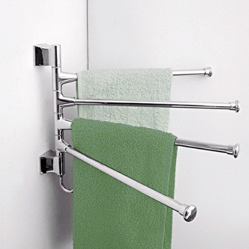WINOMO Wall-Mounted Stainless Steel 4 Swivel Bars Bathroom Towel Rack Hanger Holder Organizer (Silver)