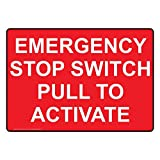 ComplianceSigns Vinyl Emergency Stop Switch Pull To Activate Labels, 5 x 3.50 in. with English Text, Red, pack of 4