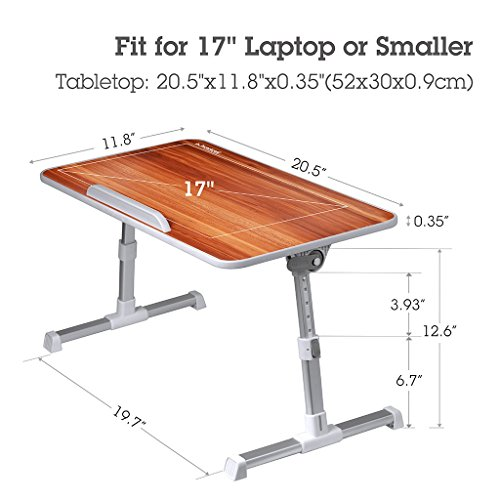 Avantree Quality Adjustable Laptop Table, Portable Standing Bed Desk, Foldable Sofa Breakfast Tray, Notebook Stand Reading Holder for Couch Floor – Minitable American cherry