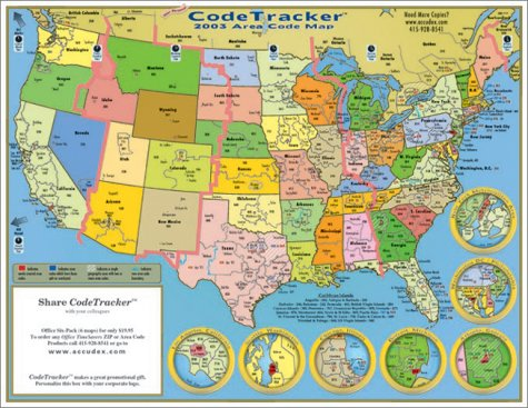 2003 CodeTracker Area Code Map area codes for the US Canada and