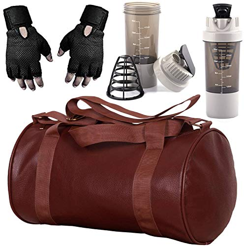 5 O' CLOCK SPORTS Soft Leather Enclosed Brown Gym Bag of 49 x 24 x 24 cm with White Cyclone Shaker and Black Wrist Support Combo Set Price & Reviews