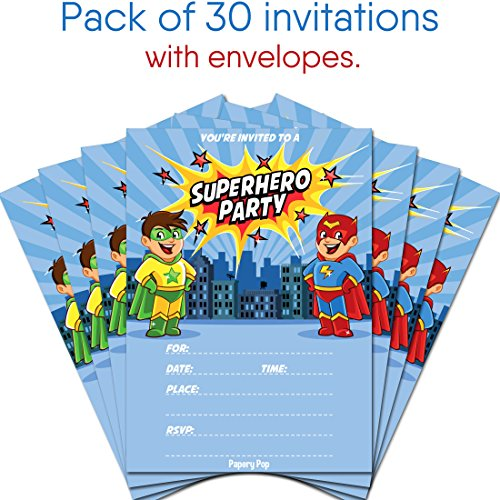 lovely 30 superhero birthday invitations with envelopes kids