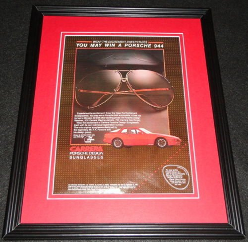 1983 Carerra Porsche Sunglasses 11x14 Framed ORIGINAL Vintage - Carerra Glasses