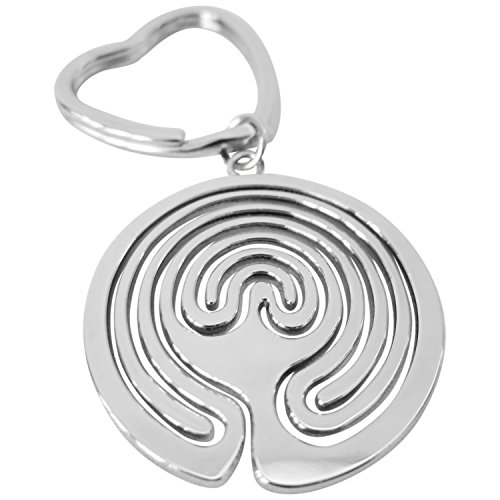 Shaped Finger (Finger Labyrinth Peace Keychains, Silver Heart Shaped Flat Split Key Chain Rings, Clips for Home Car Keys Attachment, for Women & Men, Stylish Heavy Duty Metal ♥ A LabyrinthLady Gift Idea)