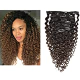 Kinky Curly Hair Extension Clip in Human Hair Extensions 10-22 inch 7Pcs/120G Ombre Natural Black Hair Extensions Colored Two Tone Dark Brown 3B 3C For Black Women (20 inch, Ombre #1B/4 Curly)
